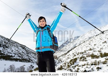 Happy Woman Winter Mountain Hiking