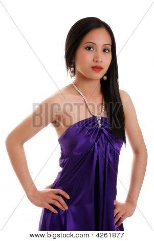 Asian Woman Wearing A Purple Dress