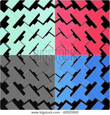 Urban City Boxes Cube Four Colors Vector