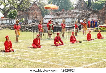 Lopburi, Thailand - Feb 16: Siamese Soldiers Traditional Show At The King Narai Reign Fair