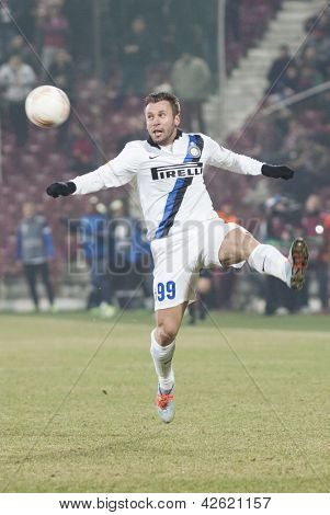 CLUJ-NAPOCA, ROMANIA - FEBRUARY 21: Antonio Cassano in UEFA Europa League match, CFR 1907 Cluj vs UInter Milan, on 21 February, 2013 in Cluj-Napoca, Romania