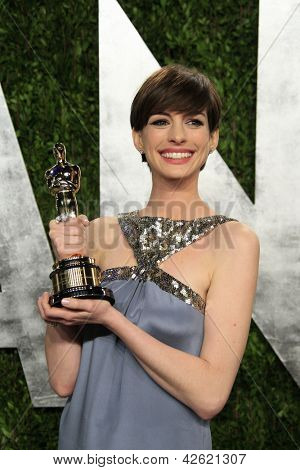 WEST HOLLYWOOD, CA - FEB 24: Anne Hathaway at the Vanity Fair Oscar Party at Sunset Tower on February 24, 2013 in West Hollywood, California