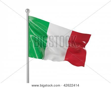 italian flag isolated on white