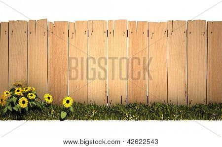 3D rendering of a wooden fence, green grass and lots of copy space, ideal for inserting a message or image