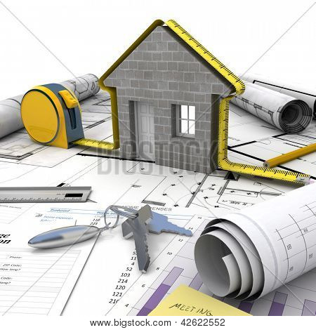 A house under construction on top of a table with mortgage application form, calculator, blueprints, etc..