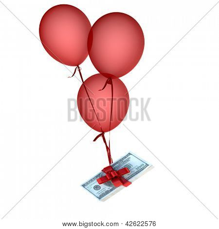 Balloons floating holding a stack of dollars attached by a red bow