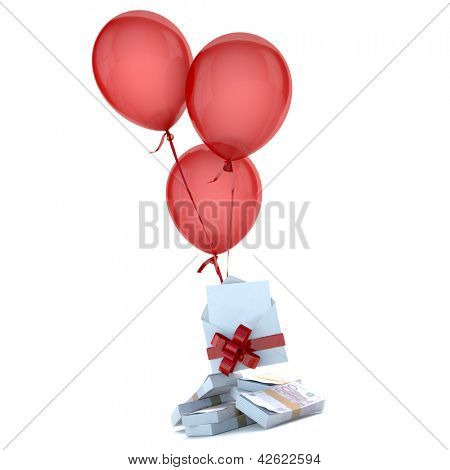 Balloons floating holding a blank envelope with a card and stack of euros attached by a red bow