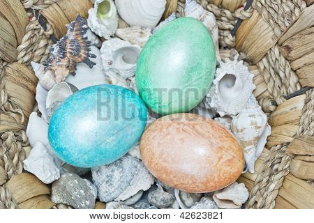 Three Colourfull Easter Eggs With Shells