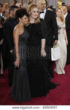 LOS ANGELES, CA - FEB 24: Norah Jones, Adele at the 85th Annual Academy Awards on February 24, 2013 in Los Angeles, California