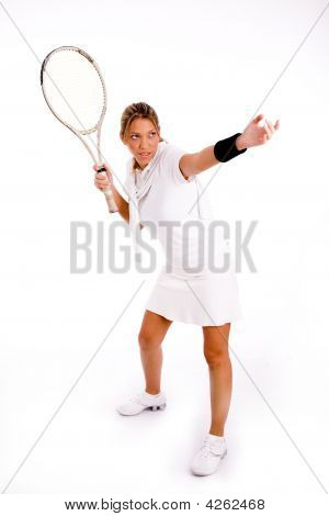 Front View Of Female Playing Tennis
