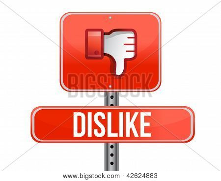 Dislike Road Sign. Thumb Down Sign