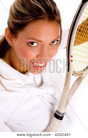 Top View Of Smiling Tennis Player