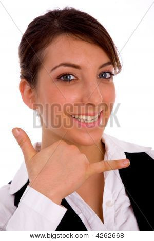 Front View Of Cheerful Woman Making Phone Call Handgesture