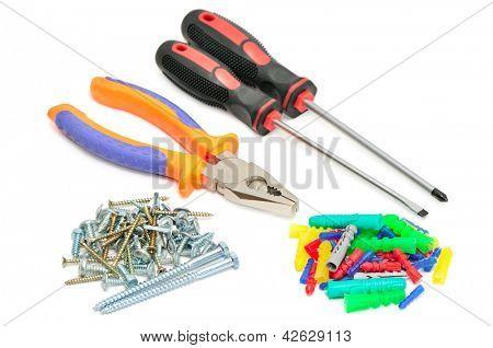 set tools isolated on white background