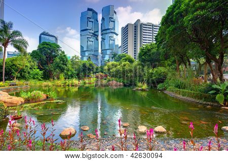 View of high rises from Hong Kong Park in Hong Kong, China