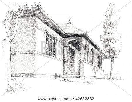 House sketch, pencil on paper