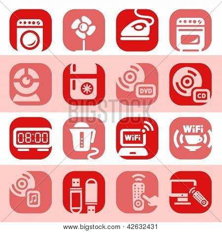 Color Electronic Home Devices Icons