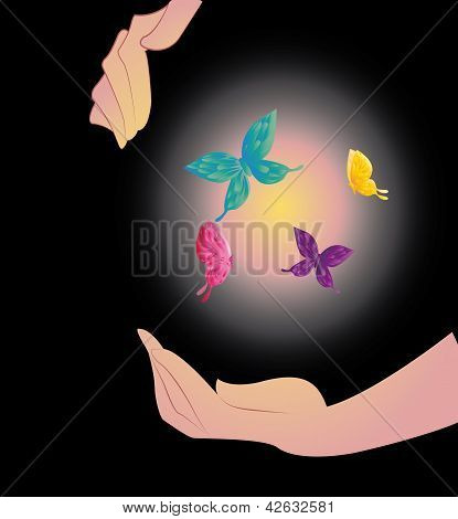 Being shone sphere with butterflies in hands