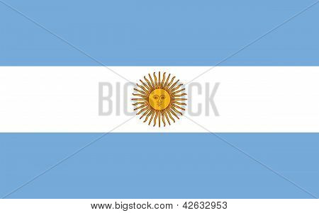 Flag Of Argentina With Sun Of May.