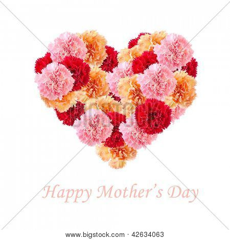 Bouquet of colorful assorted carnation flowers In Love Shape isolated on white with copy space. Happy Mother's day concept.