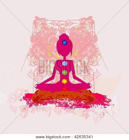 Yoga Pose de lótus. Padmasana com pontos de Chakra de cor.