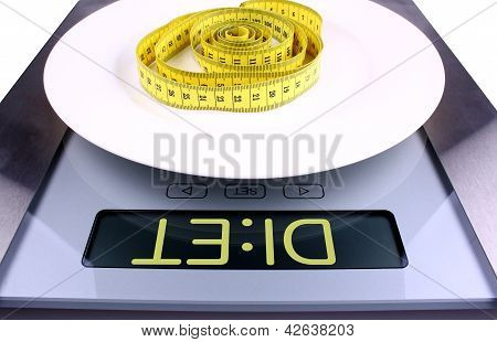 Weight Concept. Digital Scale With Diet Ad.