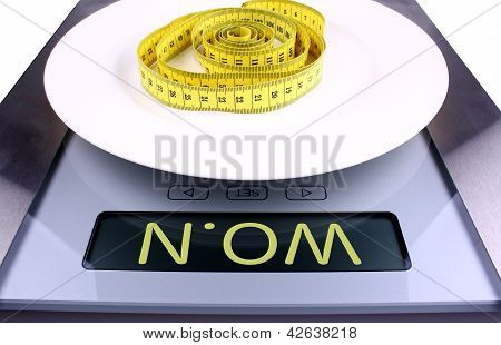 Digital Scale With Won Ad. Diet Concept.