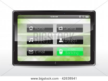 "Tablet Concept With A ""mobile Banking"" Button"