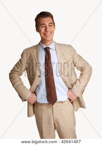 Optimistic young businessman portrait.