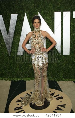 WEST HOLLYWOOD, CA - FEB 24: Alessandra Ambrosio at the Vanity Fair Oscar Party at Sunset Tower on February 24, 2013 in West Hollywood, California