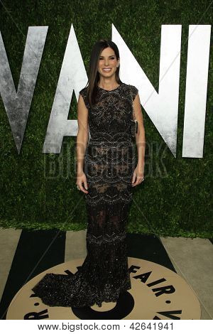 WEST HOLLYWOOD, CA - FEB 24: Sandra Bullock at the Vanity Fair Oscar Party at Sunset Tower on February 24, 2013 in West Hollywood, California
