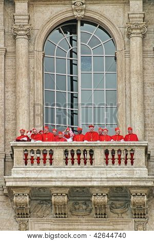 VATICAN - APRIL 19: Cardinals on balcony of Saint Peter's Basilica after new Pope election procedure aka papal conclave or meeting of the College of Cardinals in Vatican on April 19, 2005.