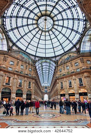 MILAN - NOVEMBER 15: Galleria Vittorio Emanuele II - shopping mall includes shops, restaurants and bars. Named after king of Italy, originally designed in 1861 in Milan, Italy on November 15, 2009.