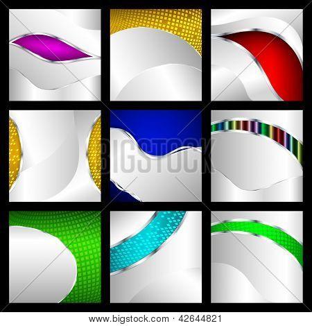 Set Of Abstract Metallic Backgrounds