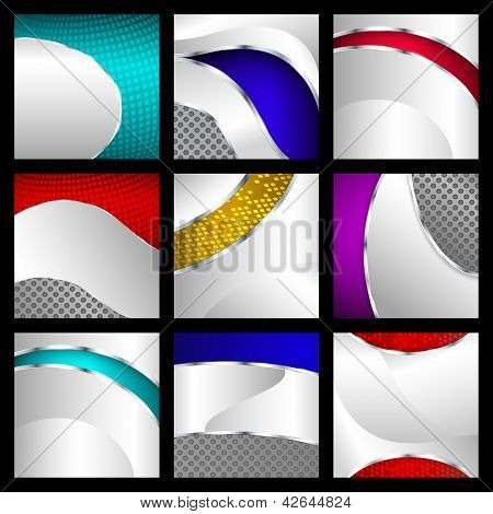 Set Of Abstract Metallic Backgrounds