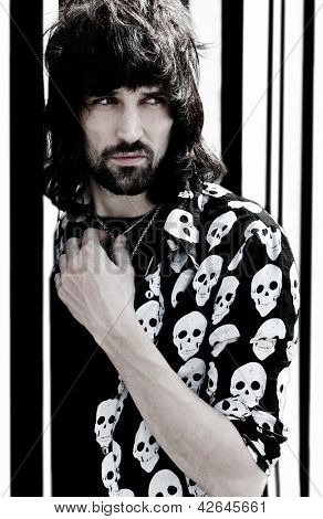 PARIS, FRANCE - APRIL 25, 2008: Portrait of the british rock group Kasabian's lead guitar and back up singer Sergio Pizzorno at Paris, France on april 25th, 2008