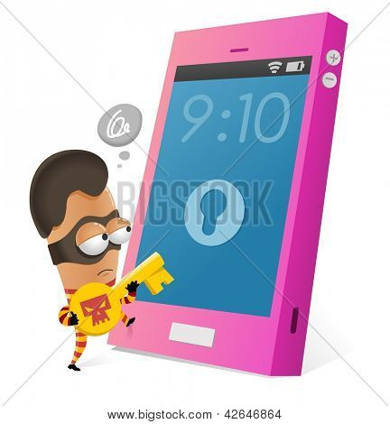 Anti-theft app for smartphone. Vector illustration