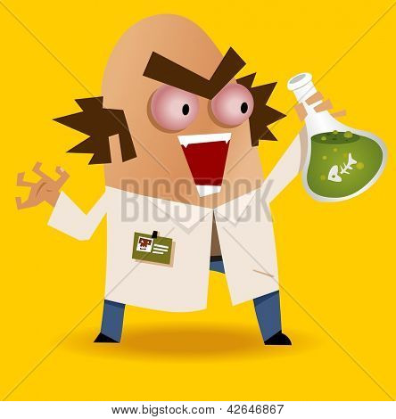 chemical weapon by mad scientist. Vector illustration