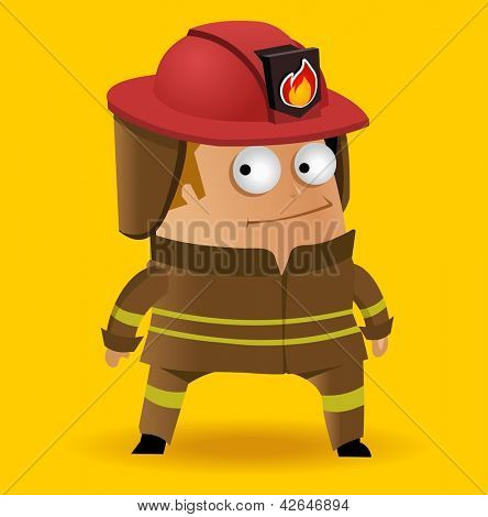 Fire fighter in uniform. Vector illustration