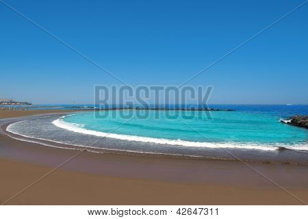 Adeje coast Las americas Beach in south Tenerife at Canary Islands