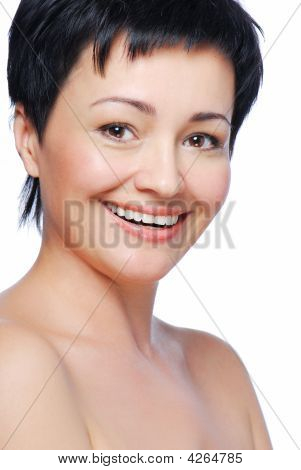 Toothy Smile  Of Beautiful Brunette Woman