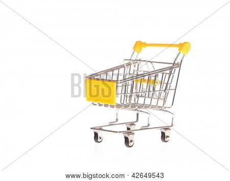 small metal shopping cart isolated on white