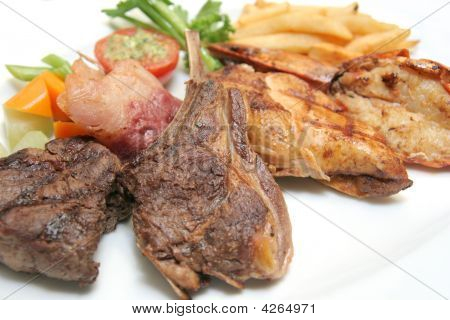 Kind Of Grilled Food From Seafood And Meats