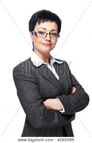 Businesswoman In Grey Business Suit