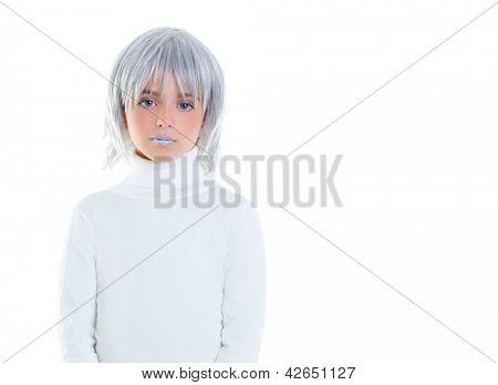 schöne futuristische Kind Mädchen futuristisch mit grauen Haaren
