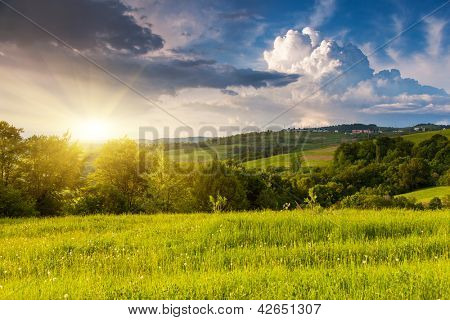 Majestic mountains landscape under morning sky with clouds. Overcast sky before storm. Carpathian, Ukraine, Europe.