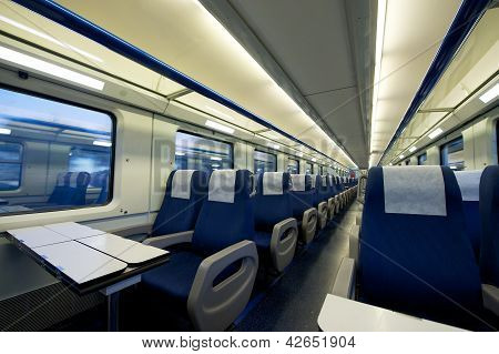 Inside of an empty passenger train car