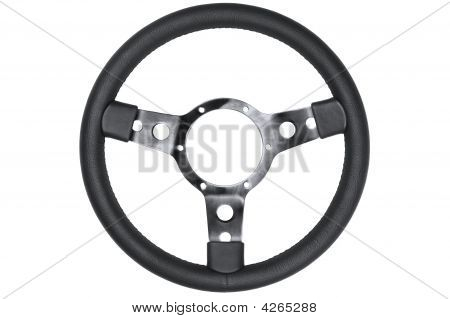 Leather Steering Wheel Isolated