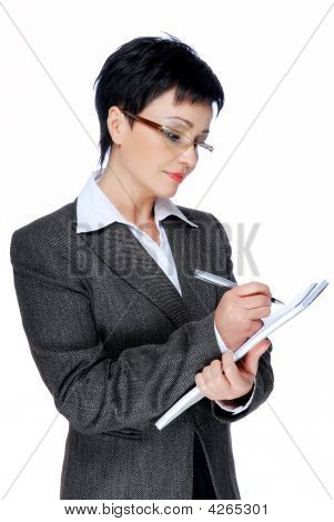 Businesswoman  Writing Note
