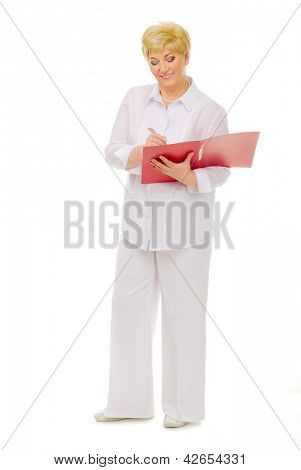 Happy senior woman with notebook isolated